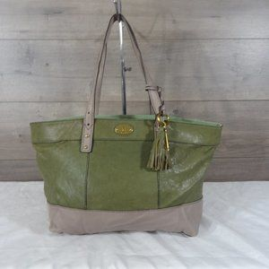 Fossil Green Gray Leather Tote Shoulder Bag